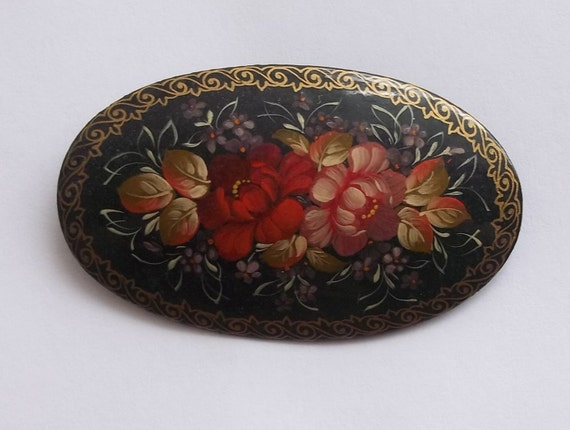 Vintage Signed and Numbered Hand Painted Floral Wooden Lacquered Signed Brooch