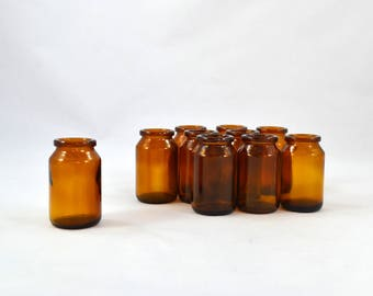 Vintage Brown Apothecary Bottles, Small Amber Glass Bottle Great For Crafting Or Party Favors