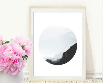 Mountain Photography, Printable wall Art, Mountains and Sky, Minimalist Photo, Modern Wall Art, Instant Download