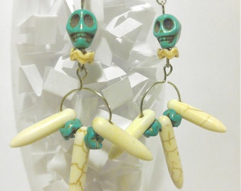 Triple Bone Spike Teal Skull Earrings