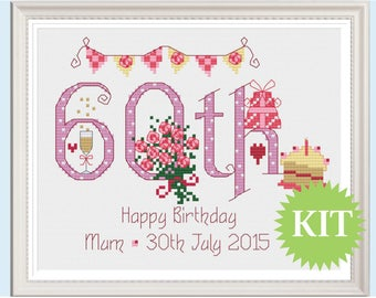 60th Birthday (Numbers) Customisable Cross Stitch KIT