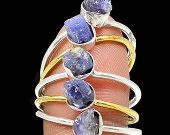 Two Tone - Tanzanite Crystal 925 Sterling Silver Ring Jewelry s.8.5