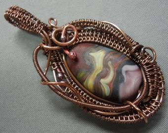 Oxidized woven copper wire & purple swirl etched glass bead pendant