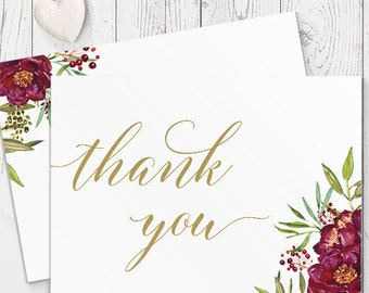 Marsala Red Floral and Gold Romatic Wedding Thank Your Card, Free Colour Changes, Professionally Printed - Peach Perfect Australia