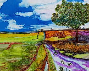 Original alcohol ink painting,  alcohol inks, landscape, farm, country