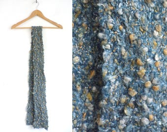 chunky knit scarf, hand knit scarf, boucle scarf, soft knit scarf, oblong scarf, fall scarf, winter scarf, blue brown
