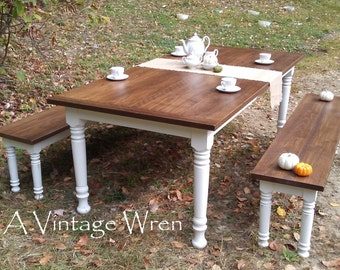 Farm table/ harvest table/ farmhouse table/ made in New Hampshire custom furniture