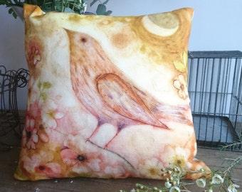 Moonbird cushion  cover 100% Linen 37 x37 cm 14.5 x 14.5 inches