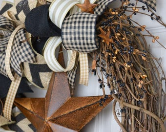Black and Beige Primitive Grapevine Wreath with Rusty Star and Pip Berries; Rustic Country Door Decor Wreath Indoor Wreath; Country Wreath