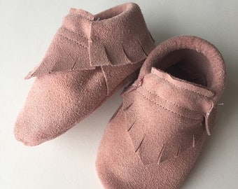 Rose Suede Moccs • Queen B Moccs  • baby moccasins
