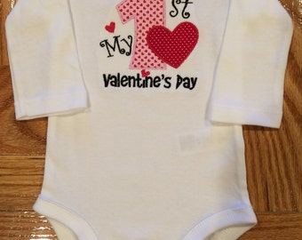 My 1st Valentine's Day Onesie OR Burp Cloth