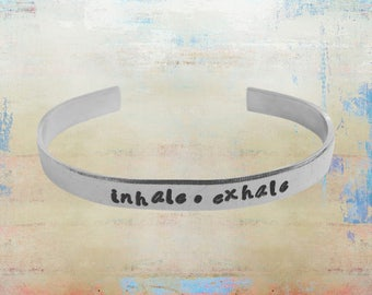 "Inhale Exhale Bracelet Hand Stamped Mantra Yoga Inspirational Jewelry 1/4"" aluminum …"