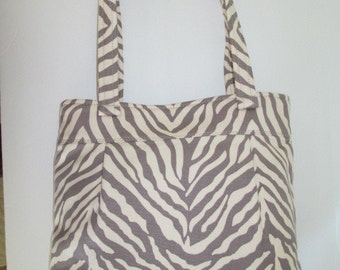 Zebra Purse/Bag Gray and Cream