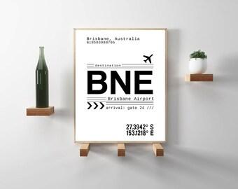 BNE Brisbane, Australia International Airport Call Letters. A scandinavian, modern, minimalist typography instant downloadable print.