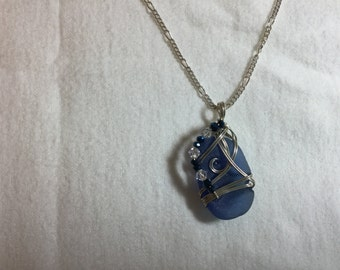 Blue sea glass necklace pendant in sterling silver with chain