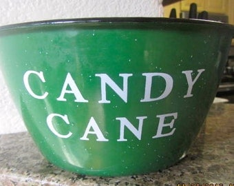 Large metal speckled bowl Candy Cane Christmas novelty Enamelware