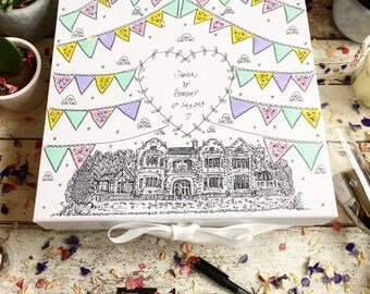 Wedding Keepsake Box. Hand Illustrated. Bunting and Wedding Venue. Summer Wedding. Memory Box.