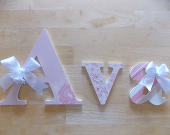 Pink and White Nursery Letters, Baby Shower Gift, Girl's Room, Nursery Decor, Birthday Gift, Personalized Wooden Letters, Newborn Gift