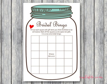 Mason Jars Bridal Shower Games, Bridal Bingo, Bridal Bingo Cards, Bridal Shower bingo Game Printable, Bridal Shower Game, BS94