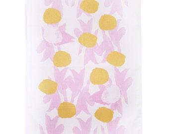 Tea towel pink screen printed