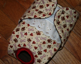 Female Dog Diaper, Panties, dog Britches, Nappies.  Washable Heat cycle, Incontinence - Red Heart Paws - by angelpuppi