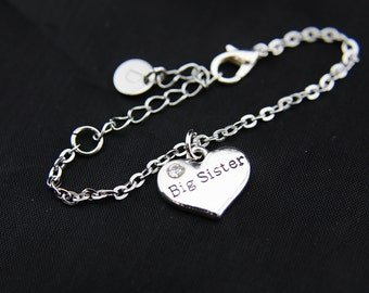 Silver Big Sister Charm Bracelet, Big Sister Charm, Personalized Bracelet, Initial Bracelet, Initial Charm, Customized Monogram Jewelry