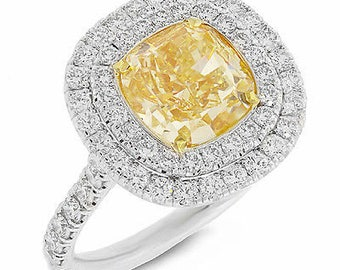 4.20tcw 18K White Gold Fancy Intense Yellow Cushion Canary Diamond Ring VVS2