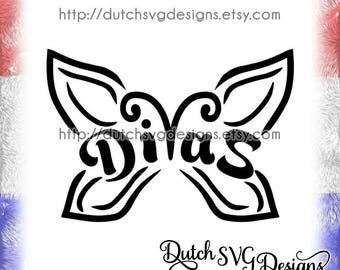 Diva's butterfly cutting file, in Jpg Png Studio3 SVG EPS DXF, for Cricut & Silhouette, butterfly svg, diva svg, butterflies svg, vector diy