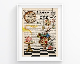 Alice In Wonderland Vintage Book print Decorative Art Book Page Upcycled Page Print Vintage Illustration Print Wall decor Retro Poster 097