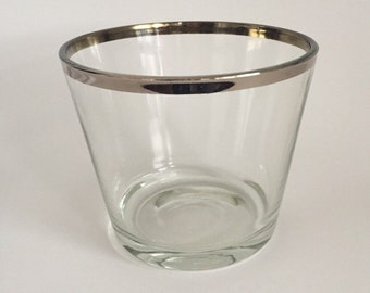 Vintage Mid Century Glass Silver Band Ice Bucket.