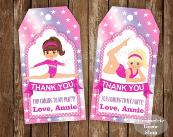 Thank you cards Gymnastic Favor tags digital gift Decoration birthday printable DIY Pink Purple Thank you card tag Girl FTPG2