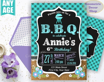 BBQ Plaid Birthday Party Invitation Invite Rustic Teal Aqua joint dual double Burlap denim barbecue barbeque Photo Photograph BDBBQ9