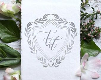 Wedding Monogram, Custom Logo Design | WL--32 | DIY Digital Wedding Logo | Save the Date | Wedding Stationery | silver, grey, gray, shiny