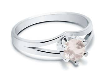 Rose Quartz Ring, 925 Sterling Silver. SIZE 5.50 (inner diameter 19mm), color pink, weight 2.2g, #44438
