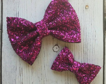 Metallic Fuchsia · Mini OR Classic Glitter Hair Bow / Baby Headbands / Hair Accessory / Girls Hair Bow / Infant Headband / Sparkly Hair Bow