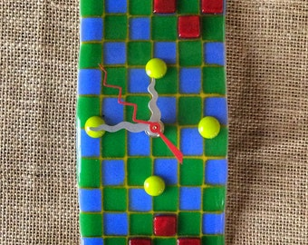 Small Mosaic Wave fused glass wall clock