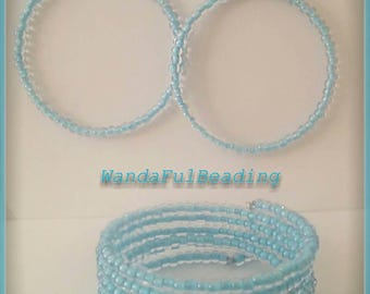Clear & Blue Memory Wire Bracelet and Earring Set