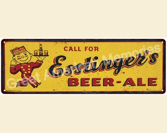 Esstinger's Beer & Ale Vintage Look Reproduction 6x18 Metal Sign 6180076