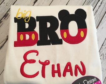 Big brother , little brother mouse inspired  shirts! Can be personalized! Sibling set!