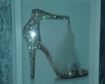 Choo Glitter Shoe Framed Canvas with Crystals A4 size