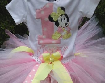 Pink and Yellow Minnie Mouse 1st Birthday Outfit Pink Minnie Mouse Birthday Outfit Pink Minnie Mouse Shirt 1st Birthday Outfit 1st Birthday