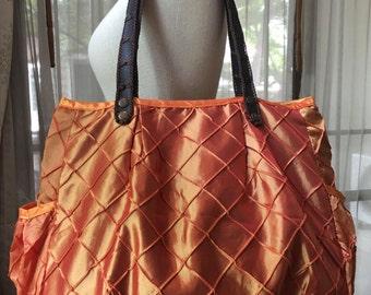 Tote bag, shopping bag, handmade bag, gym bag, beach bag, bag with handles, satin bag, orange