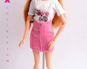 Barbie clothes, 2piece set top and skirt
