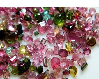 ON SALE 50% 14 Pieces Tourmaline Faceted Cabochons, Pink Tourmaline, Green Tourmaline, 6mm To 9mm Each Aprrox, SKU-Trf1