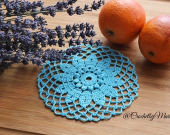 Turquoise mini doily, Round crochet doily, Handmade doily, crochet item, crochet lace doily, Wedding decoration, handmade gift