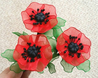 poppy flower-set of 3 individual stems,handmade poppy,poppy,red poppy,unique poppy gift,spring flowers,Mother's day,remembrance day,spring