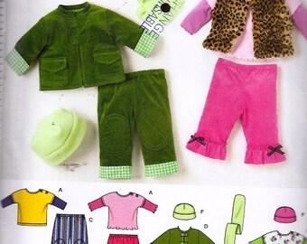 Babies Pants, Jacket or Vest, Knit Top and Fleece hat and Scarf/ Bébés: pantalons, veste ou gilet et chapeau et écharpe en molleton