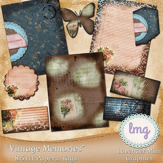 """Vintage Digital Scrapbooking Papers - """"Vintage Memories"""" - Junk Journal Papers, Collage Papers, 8.5x11, Instant Download, Commercial Use"""