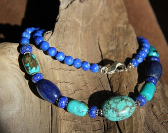 Natural turquoise and lapis lazuli necklace