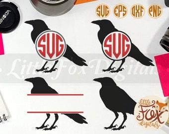 Raven Crow Monogram Bird Animal Pork Silhouette Clipart Vector Digital Illustration Scrapbook svg eps png dxf